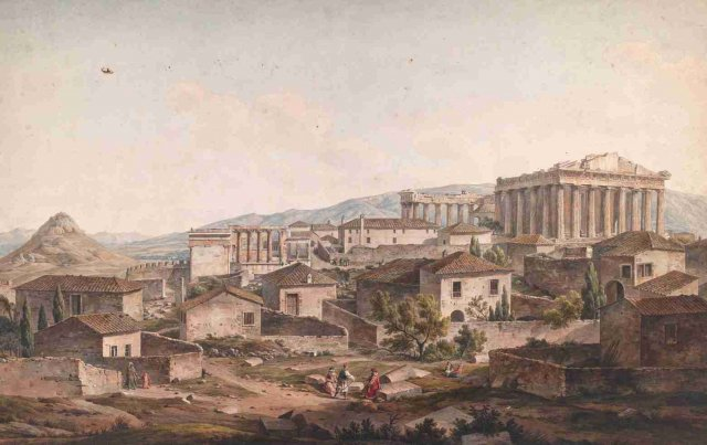 """""""The Acropolis of Athens"""" (1805) watercolor by Simone Pomardi. On show at """"The rediscovery of the ancient"""" (Rome, Foro Romano, Curia Iulia, until February 23) © 2013 The Packard Humanities Institute"""