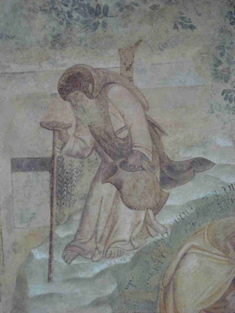 """Frescoes by Buonamico Buffalmacco (""""Stories of anachorets"""", detail, Monumental Cemetery of Pisa) made between 1340 and 1343."""