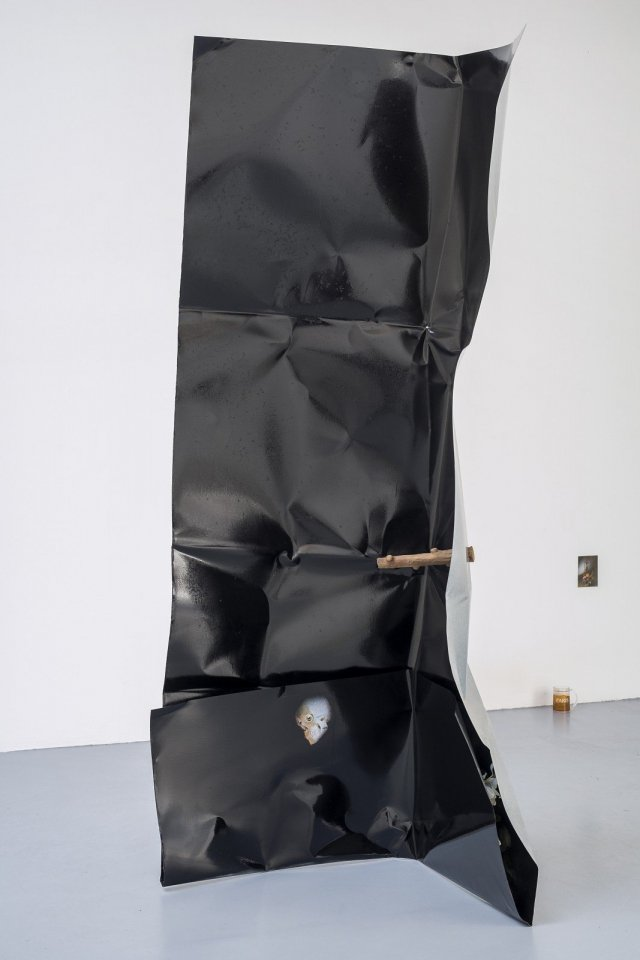 Jack Lavender, The Past's All-Pervading Effect on the Present, 2015. Steel, paper, gloss, dirt, rubber tree branch, variable dimensions.