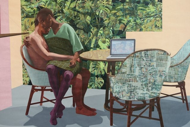 Njideka Akunyili Crosby, Thriving/ Graden, 2016 (detail); acrylic, transfers, coloured pencils and collage on paper; at Victoria Miro gallery.