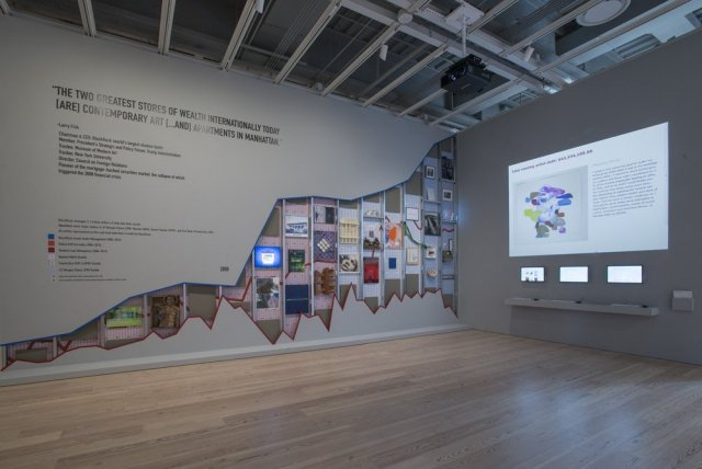 Installation Occupy Museums,  Debtfair, 2017  ( 2017 Whitney Biennial, March 17—June 11, 2017).  Thirty artworks and interactive website.  Whitney Museum of American Art, New York.  Courtesy of the artists. Photograph Bill Orcutt