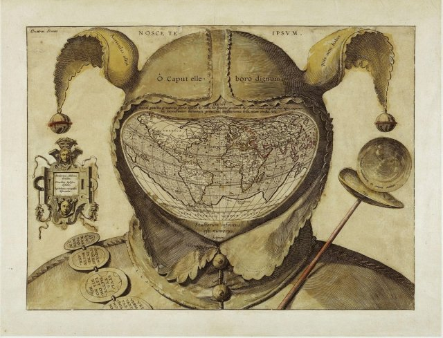 """Anonymous, """"Fool's Cap Map of The World"""", 16th Century, image source: Wikimedia Commons."""