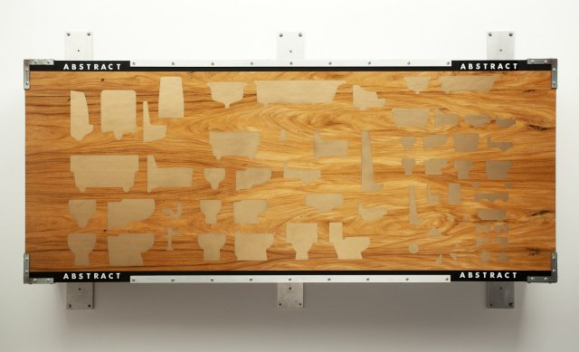 Ashley Bickerton. Abstract painting for people #3, 1986. Acrylic and metal flake enamel on plywood with Formica and brushed aluminum, 42 x 72 x 11 inches (106.7 x 182.9 x 27.9 cm). Courtesy the artist and Lehmann Maupin, New York and Hong Kong.