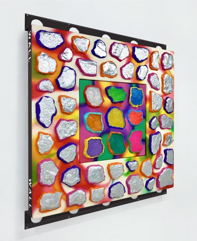 Ashley Bickerton. Wall-Wall SnS-S, 2017. Oil And meta-flake enamel on resin and fiberglass on plywood with aluminum, 185 x 155 x 20 cm. Courtesy the artist and Lehmann Maupin, New York and Hong Kong.
