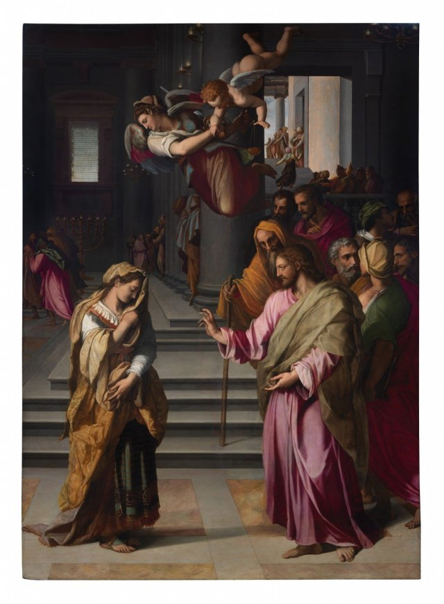 Alessandro Allori (Florence 1535‒1607), Christ and the Adulteress 1577, oil on panel, 380 x 263.5 cm. Florence, Basilica of Santo Spirito.