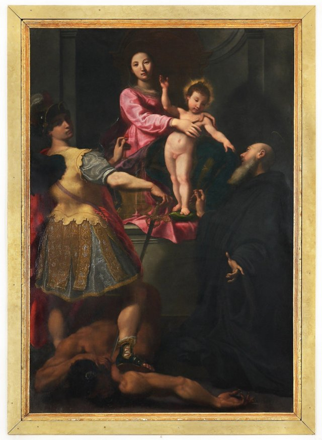 Gregorio Pagani (Florence 1558‒1605), Madonna and Child Enthroned with Sts Michael Archangel and Benedict 1595, oil on panel, 233 x 156 cm. Terranuova Bracciolini, Church of San Michele Arcangelo.