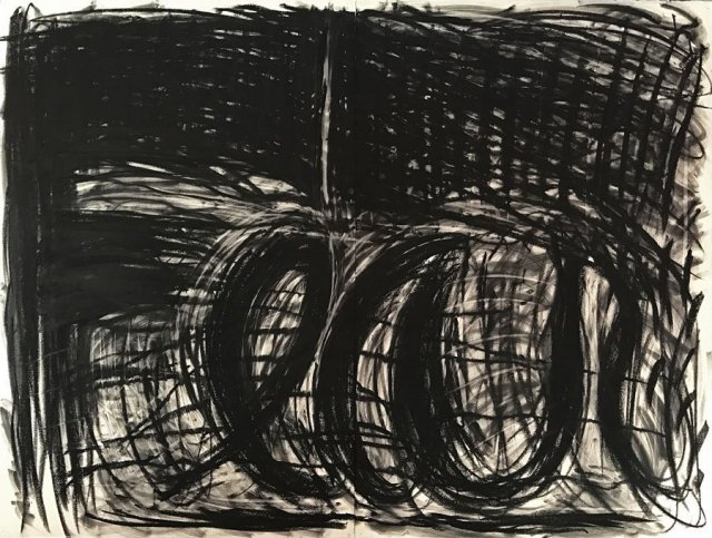 Judith Bernstein, Fear, charcoal on paper, 1995, 47,5 x 63 inch, courtesy of the artist.