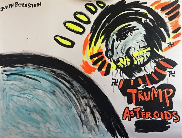 Judith Bernstein, Trump asteroids, 2017. Acrylic and oil on paper, 49.5 x 59 inch, courtesy of the artist.