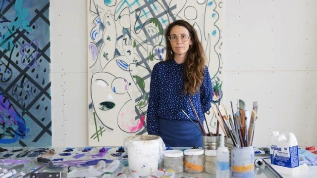 Laura Owens in her Los Angeles studio. Courtesy the artist.