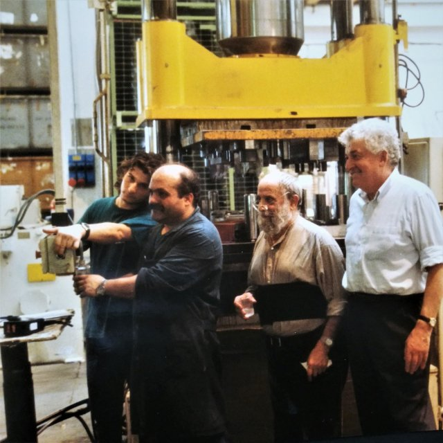 César with art collector Alberto Rossini while producing La Suite Milanaise, Briosco, Italy, 1998.