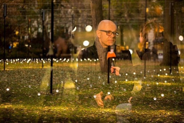 "Portrait of Erwin Redl with ""Whitehot"" at Madison Square Park, New York. Courtesy of Moorehart Photography."