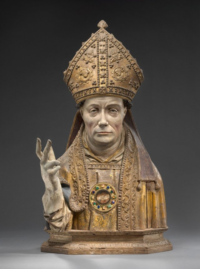 Reliquary bust of a bishop, Brussels ca. 1520, oak and polychromy, Staatliche Museen of Berlin, Sculpture Collection and Museum of Byzantine Art © SMB, Sculpture Collection and Museum of Byzantine Art, Antje Voigt.