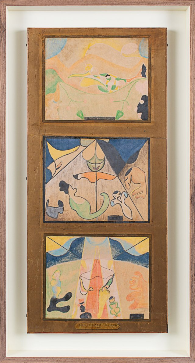 Paul Éluard, Le Cirque (triptych), 1913, wax crayon drawings. Courtesy of Gallery Rosenberg & Co.