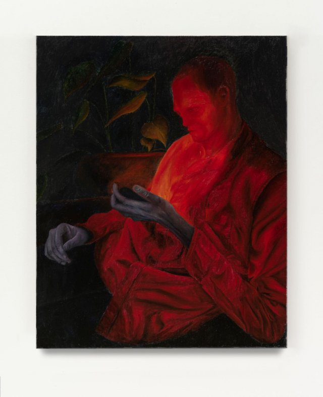 Srijon Chowdhury, Alizarin shirt, 2019; oil on linen, cm. 76,2 x 61 Courtesy the Artist and Antoine Levi, Paris.