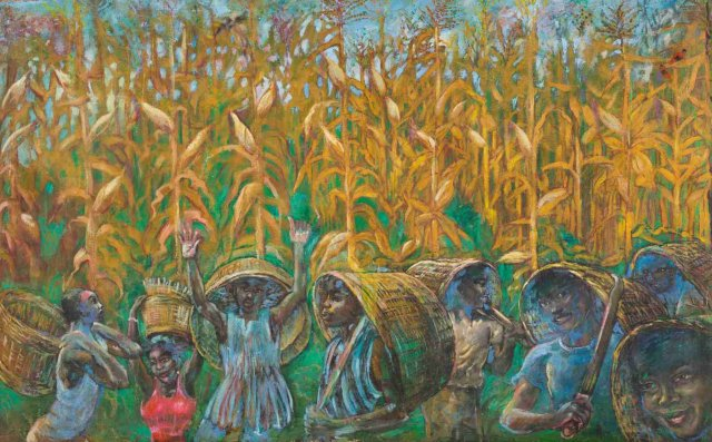 Galle Winston Kofi Dawson, Corn, 1986. Oil on canvas. 121 x 76 cm. Courtesy of the artist and Savannah Centre for Contemporary Art Tamale.