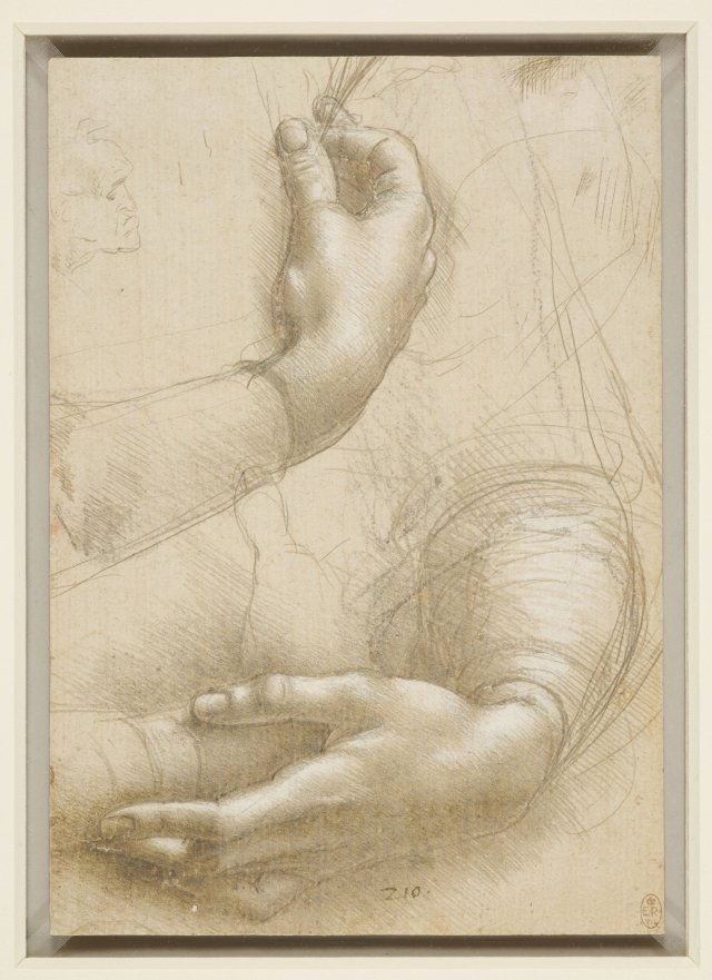 Leonardo da Vinci (Vinci, 1452–Amboise, 1519) Woman's Arms and Hands; a Small Man's Head in Profile c. 1474–86, silverpoint and metalpoint, highlighted with brush and white gouache, with later overdrawing of outlines in soft, grayish black chalk, on pinkish-buff prepared paper, 215 x 150 mm. Windsor Castle, Royal Library, The Royal Collection Trust, inv. RCIN 912558 (lent by Her Majesty Queen Elizabeth II). Royal Collection Trust.