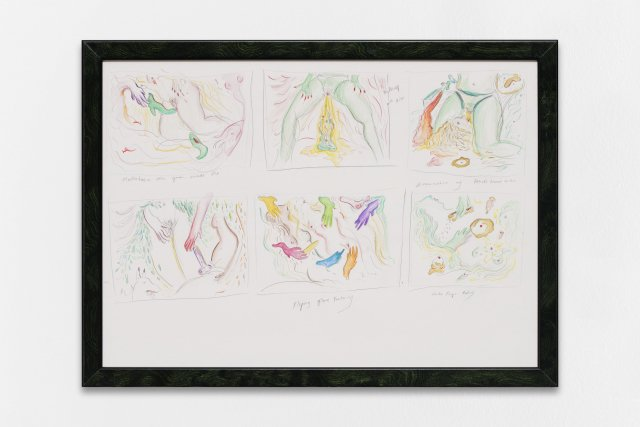 Zoe Williams, Studies for scenes (Mishaps with Fist etc), 2018. Pencil and watercolours crayon on paper, in artist's tinted walnut burr frame. Cm. 33 x 45 Private Collection, Monte-Carlo.