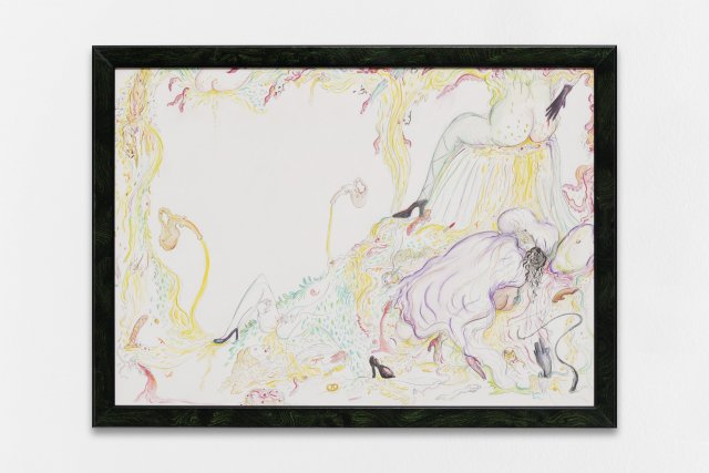 Zoe Williams, Sunday Fantasy, 2018. Pencil and watercolours, crayon on paper, in artist's tinted walnut burr frame. Cm. 33 x 45. Courtesy the Artist and Antoine Levi, Paris.