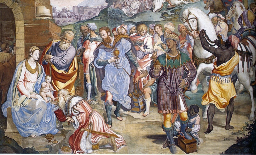 "Simone Peterzano, ""Adoration of the shepherds"", fresco, Milan, Certosa di Garegnano"