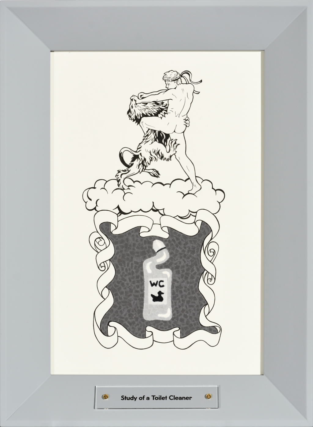 a coat of arms with a man wrestling a lion and a toilet cleaner