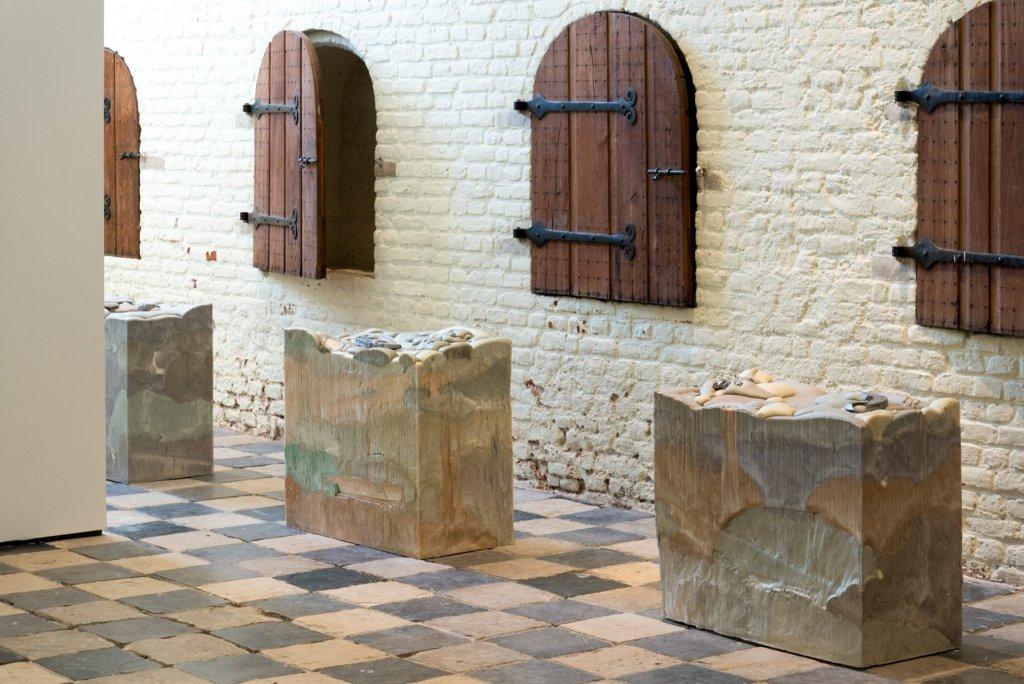 Marina Pinsky, Not Yet Titled (Foam Blocks 1-10), 2017. Strata of the Slow, Buried Trench, Vleeshal Markt, Middelburg. Photo: Marina Pinsky