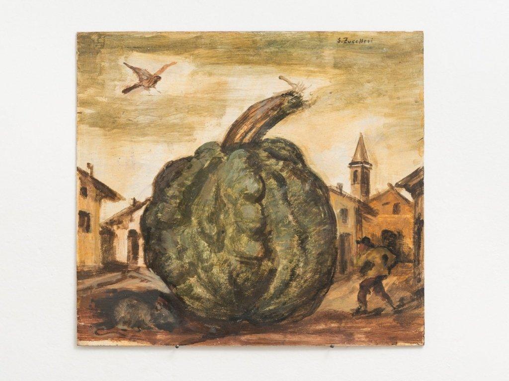 Luigi Zuccheri, Untitled (Piazza con zucca, topo, falco e figure umane), 1955/60, tempera on board, 40x45 cm. Courtesy MMXX Milan.