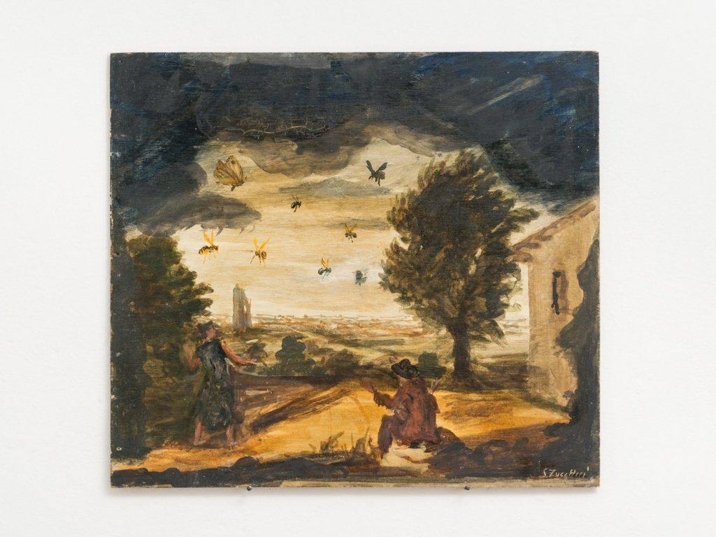 Luigi Zuccheri, Untitled (Temporale con insetti e figure umane), 1950/55, tempera on board, 40x45 cm. Courtesy MMXX Milan.