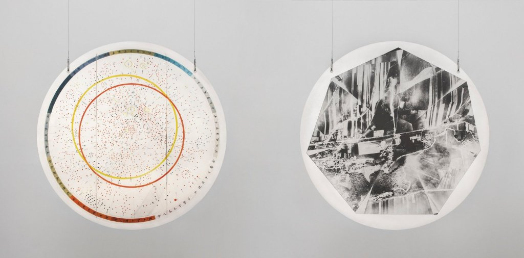Marina Pinksy, Joseon Map of the Astronomical Order and Nebra Sky Disk. © Eden Krsmanovic / Courtesy of the artist and CLEARING New York, Brussels