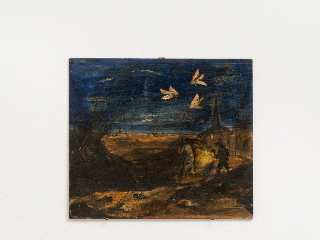 Luigi Zuccheri, Untitled (Notturno con falene, grilli e figure umane), 1950/55, tempera on board, 30x35 cm. Courtesy MMXX Milan.