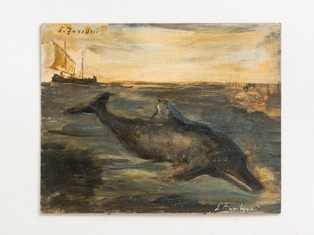 Luigi Zuccheri, Untitled (Delfino con bragozzo), 1950/55, tempera on board, 40x50 cm. Courtesy MMXX Milan.