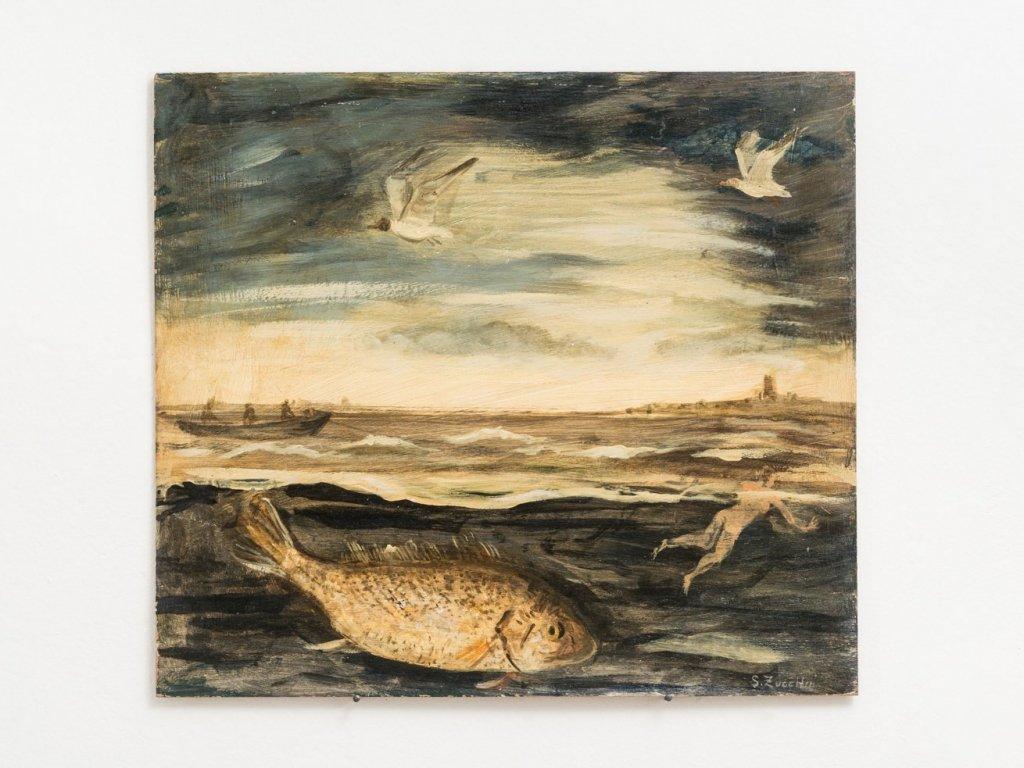 Luigi Zuccheri, Untitled (Bagnante con pesce e uccelli marini), 1950/55, tempera on board, 40x45 cm.