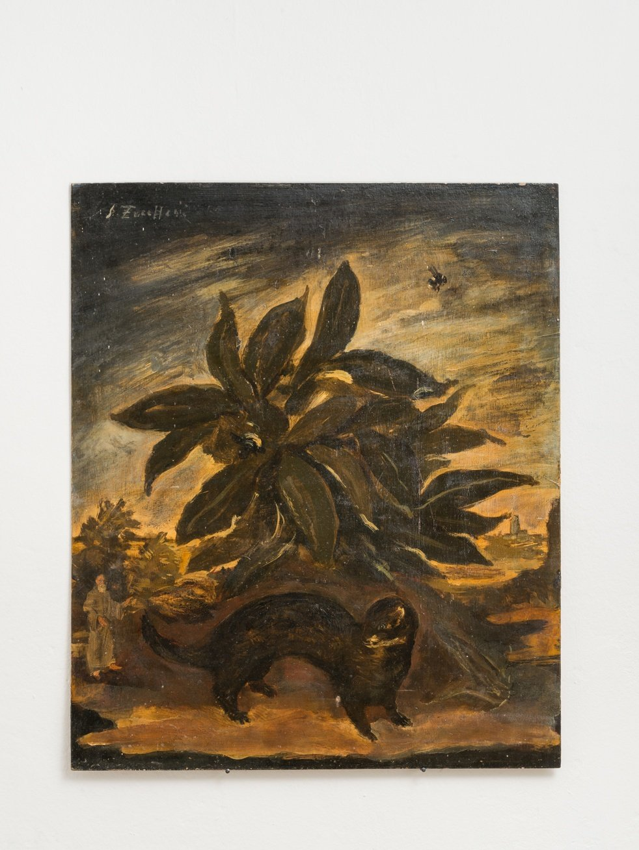 Luigi Zuccheri, Untitled (Cespuglio con faina, calabrone e frate), 1950/55, tempera on board, 40x45 cm. Courtesy MMXX Milan.