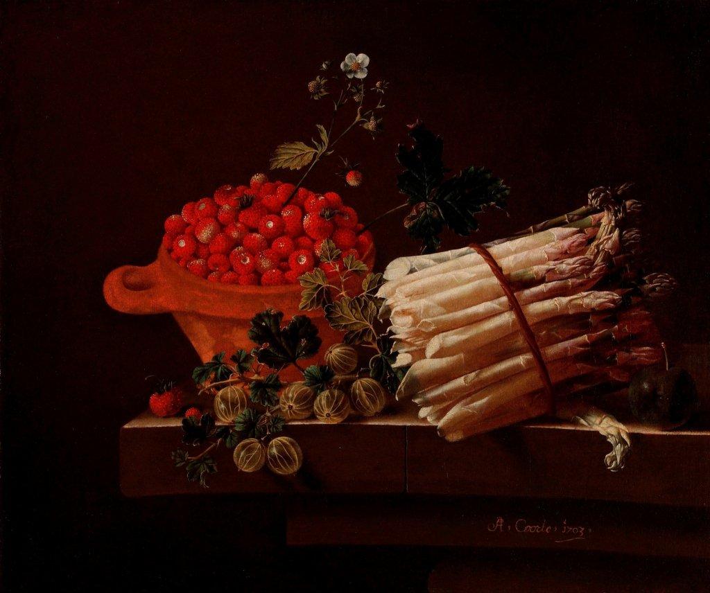 CoorteCoorte Bowl of Strawberries a Spray of-Gooseberries Asparagus 1703 National Gallery Londo