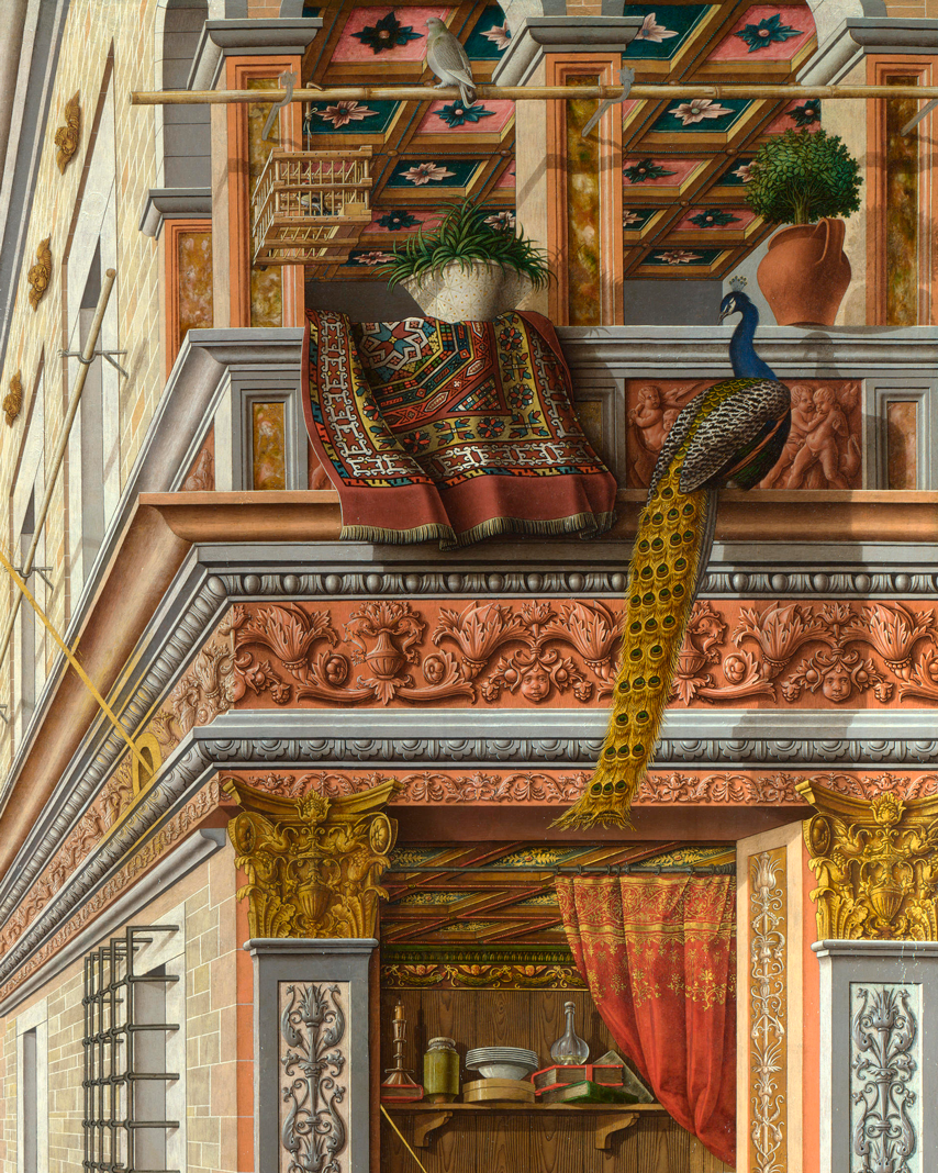 Detail with Oriental carpet from Carlo Crivelli, Annunciation with St Emidius, 1486.