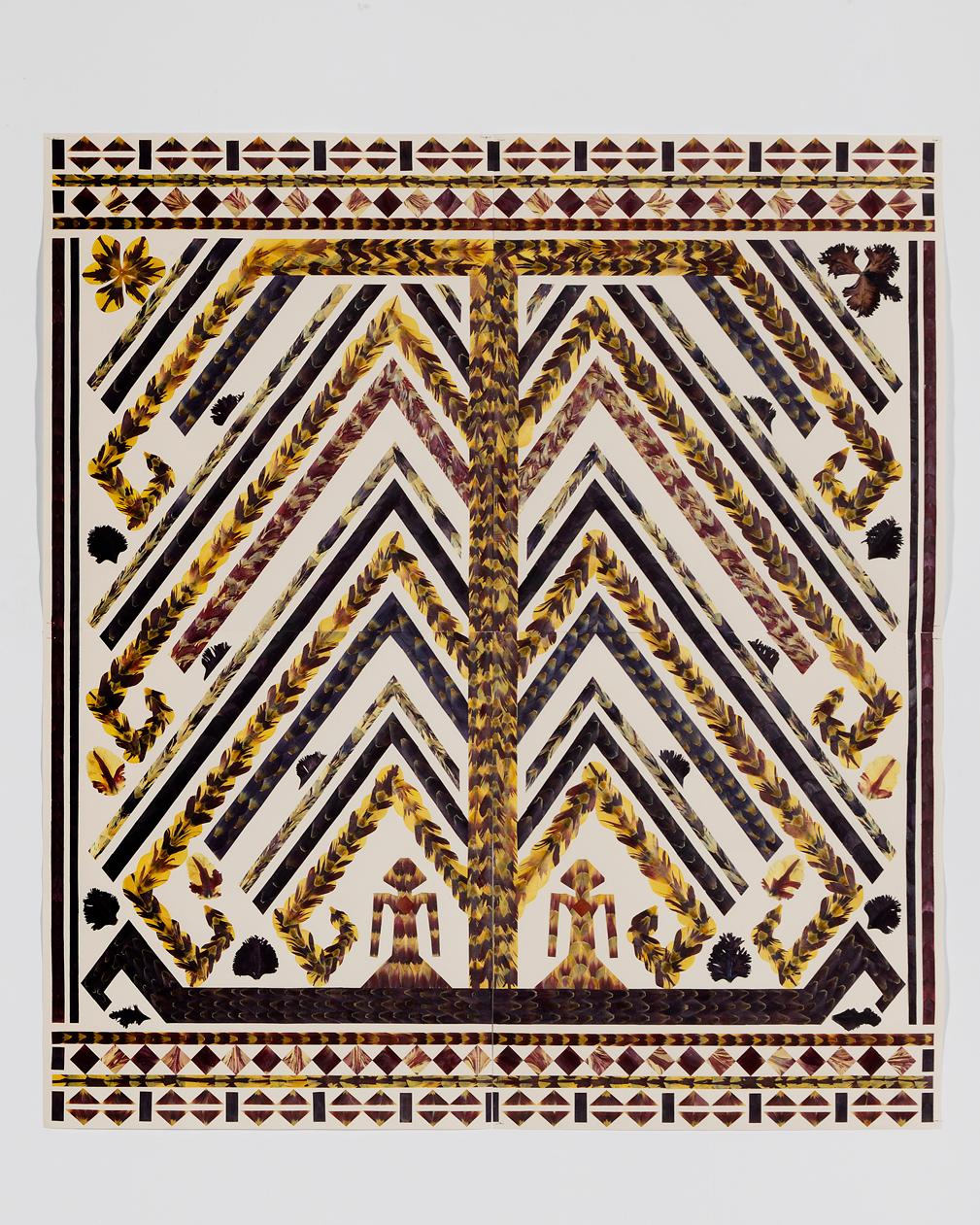 Jennifer Tee, Tampan Tree of Life, tulip petals collage on paper, 2016.