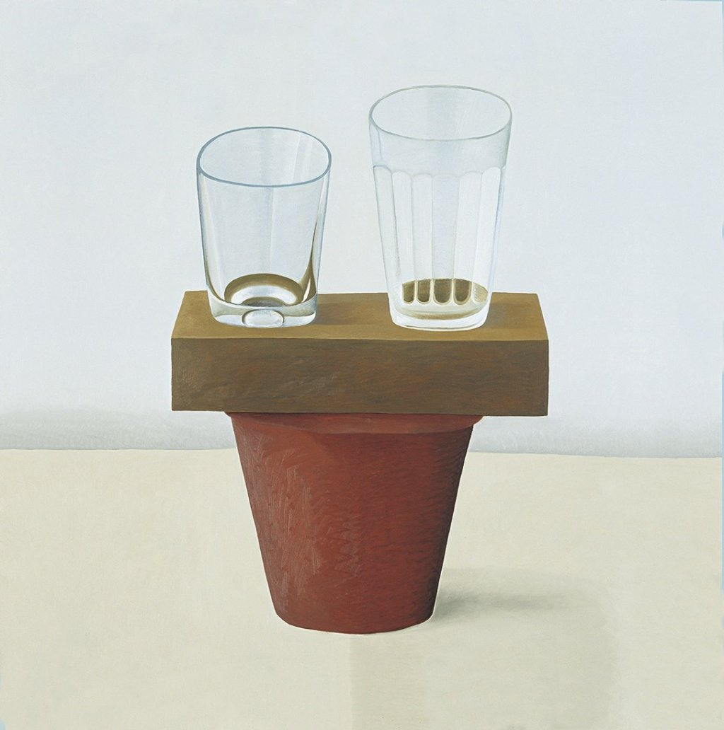 two glasses on a brick and pot