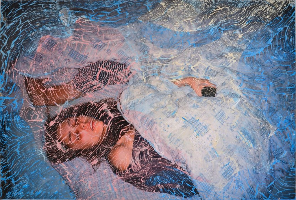 Tatjana Danneberg, Should I show more interest in the world?, 2019. Gouache, Ink-jet print, paint primer, glue on canvas. Courtesy the artist and LambdaLambdaLambda.